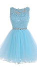 Short Blue Tulle Appliques Homecoming Dress with Beaded Waist Custom Made Cute Short Cocktail Dress Fashion Short School Dance Dresses Short Women's Fashion Dresses HD188