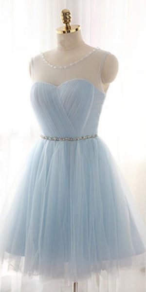 Cute O-Neck Tulle Beading Homecoming Dress Short Sky Blue Party Dress HD017