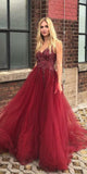 Burgundy Long Beaded Prom Dress Custom Made Long Tulle Beadings Evening Dress Fashion Long School Dance Dress Women's Formal Dresses PD869
