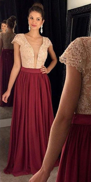 Sexy Deep V-Neck Long Prom Dress with Lace Bodice Custom Made Long Evening Gowns Fashion Long School Dance Dress Women's Formal Dresses PD855