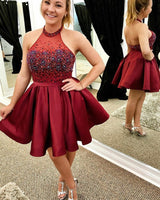 Burgundy Halter Beaded Short Homecoming Dress 2019 Custom Made Cute Cocktail Dress Fashion Sweet 16th Dress Short Satin Beadings Graduation Party Dress HD083
