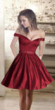 Sweetheart Burgundy Off Shoulder Satin Homecoming Dress with Beaded Waist Custom Made Short Graduation Party Dress Sweet 16th Dress HD062