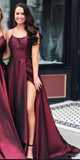 Spaghetti Straps Long Prom Dress Custom Made Long Side Slit Evening Gowns Fashion Long School Dance Dress Women's Pagent Dresses PD932