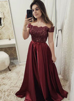 Burgundy Off Shoulder Satin Lace Prom Dress with Beadings Custom Made Beaded Evening Party Dress Fashion Long A-Line School Dance Dress PD535