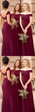 Simple Burgundy Off Shoulder Bridesmaid Dress Custom Made Fashion Long Wedding Party Dresses BD045
