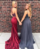 Halter Beaded 2 Pieces Prom Dress 2019 Custom Made Long Burgundy Mermaid Evening Party Dress Fashion Two Pieces School Dance Dress Satin Beadings Pageant Dress for Girls PD639
