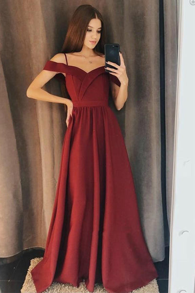 Sweetheart Off Shoulder Burgundy Prom Dress Custom Made Fashion Long A-Line Formal Evening Gowns PD358