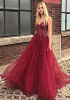 Burgundy Tulle Beadings Long Prom Dress Custom Made Long Open Back Evening Party Dresses Fashion Long Sequins School Dance Dresses PD714