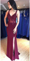 V-Neck Mermaid Silt Burgundy Prom Dress with Appliques Custom Made Fashion Long Evening Gowns School Dance Dresses PD401