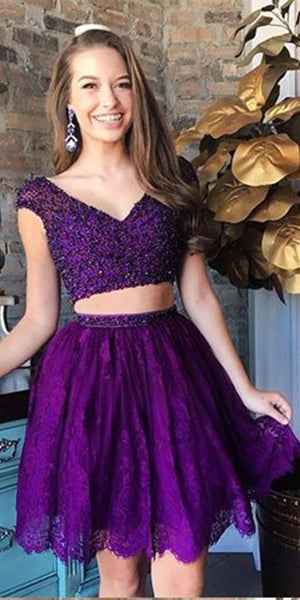 Cap Sleeves Beaded 2 Pieces Short Homecoming Dress 2019 Custom Made Regency Lace Beadings Cocktail Dress Fashion Two Pieces Sweet 16th Dress Short Beadings School Dance Dress HD071