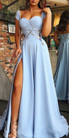 Sweetheart Long Cap Sleeves Blue Prom Dress 2019 Custom Made Evening Party Dress Fashion Long Side Slit School Dance Dress PD493