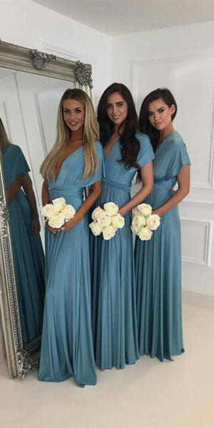 Simple Deep V-Neck Long Bridesmaid Dress 2019 Custom Made Chiffon Floor Length Wedding Party Dresses BD080