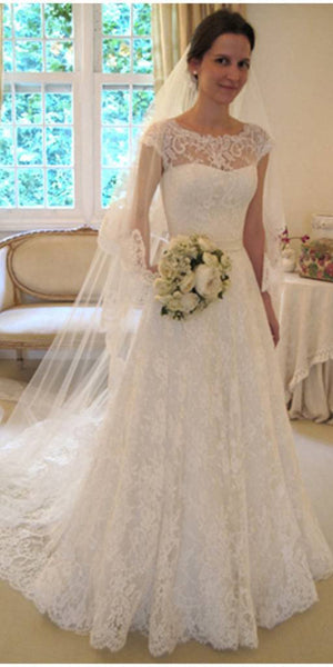 Cap Sleeves Long Lace Bridal Gowns Custom Made Fashion Long Wedding Dresses WD011