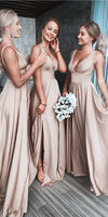 Simple Sexy Deep V-Neck Bridesmaid Dress Custom Made Fashion Long Side Slit Wedding Party Dresses BD044