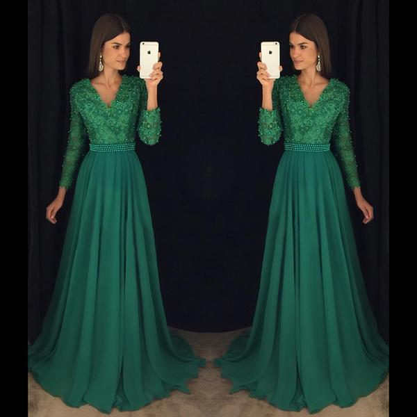 42aee06af0e ... Dark Green Beaded Chiffon Prom Dress with full Sleeves Custom Made Long  Evening Gowns with Beades ...