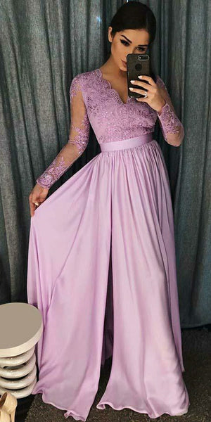 V-Neck Full Sleeves Chifon Lace Prom Dress Custom Made Side Slit Evening Party Dress Fashion Long Lilac School Dance Dress Girls Pageant Dress PD568