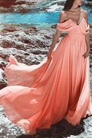 Simple V-Neck Off Shoulder Chiffon Prom Dress Custom Made Long A-Line Evening Gowns Fashion Beach Wedding Dresses PD394
