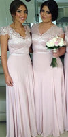 V-Neck Chiffon Lace Bridesmaid Dress Simple Long Prom Dress BD011