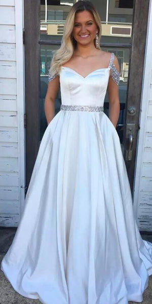 Beaded Long Prom Dress with Pockets Custom Made Long Graduation Party Dress Fashion Long School Dance Dress PD782