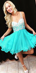 Sweetheart Beaded Chiffon Homecoming Dress Short One Shoulder Party Dress HD022