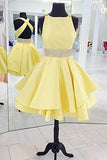 Simple Scoop Cross Back Homecoming Dress Yellow Beaded Satin Party Dress HD010