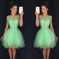 Short Tulle Beadings Homecoming Dress Custom Made Cute Short Cocktail Dress Fashion Short Tulle Beadings School Dance Dresses Short Women's Fashion Dresses HD178