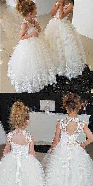 Cute Open Back Tulle Lace Flowergirl Dress Flower Girl Ball Gowns FD004