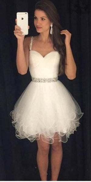 Cute Sweetheart Homecoming Dress with Beadings Short White Party Dress HD015