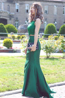 Sexy Dark Green 2 Pieces Mermaid Satin Lace Prom Dress Custom Made Fashion Two Pieces Long Party Dress School Dance Dresses PD380