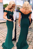 Sexy Off Shoulder Long Mermaid Prom Dress with Appliques Custom Made Dark Green Evening Gowns PD231