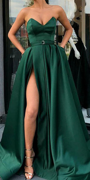 Sweetheart Side Slit Dark Green Prom Dress 2019 Custom Made Sexy Long Evening Party Dress Fashion School Dance Dress PD497