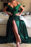 Sexy High Side Slit Dark Green Prom Dress with Appliques Custom Made Fashion Long Evening Gowns PD267