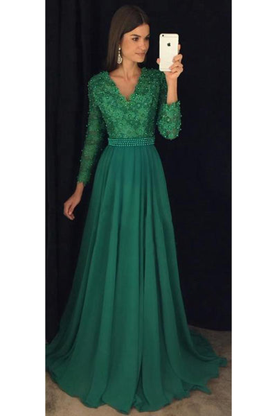Dark Green Beaded Chiffon Prom Dress with full Sleeves Custom Made Long Evening Gowns with Beades PD253