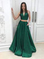 V-Neck Dark Green 2 Pieces Prom Dress with Pockets Custom Made Long A-Line Evening Gowns Fashion Two Pieces School Dance Dress Women's Pageant Dress PD622