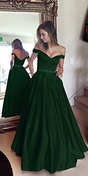 Sweetheart Off Shoulder Long Prom Dress with Beaded Waist Custom Made Long Evening Party Dresses Fashion Long School Dance Dresses PD715