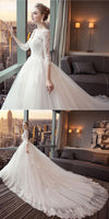 Fashion V-Neck Appliques Bridal Wedding Gowns with Full Sleeves Custom Made Long Tulle Lace Bridal Dresses WD006