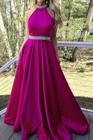 Fashion halter Beadings Satin Long Prom Dress 2019 Custom Made A-Line Backless Evening Dress PD191