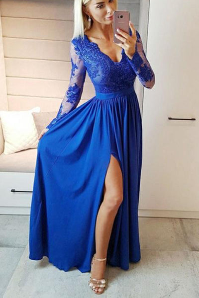 Sexy High Side Slit Prom Dresses with Full Sleeves Custom Made Fashion Appliques Formal Dresses PD261