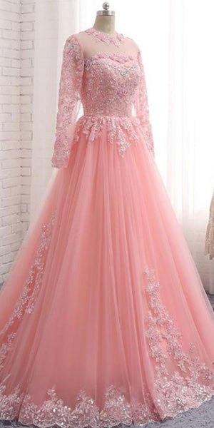 Pink Tulle Lace Appliques Prom Dress 2019 Custom Made Long A-Line Evening Dress Fashion Bridal Wedding Dresses PD467