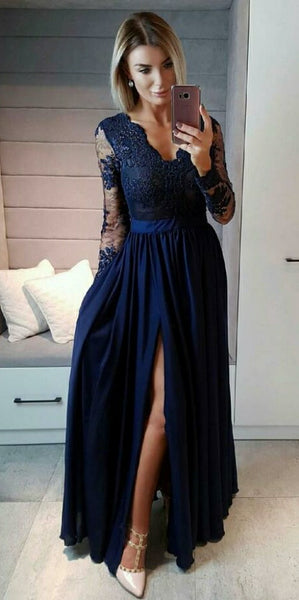 Navy Blue V-Neck Full Sleeves Prom Dress 2019 Custom Made Chiffon Appliques Evening Party Dress Fashion Long School Dance Dress Side Slit Pageant Dress for Girls PD561