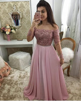 Off Shoulder Full Sleeves Long Prom Dress 2019 Custom Made Beaded Pink Evening Party Dress Fashion Appliques School Dance Dress Pageant Dress for Girls PD560