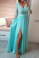 Sexy V-Neck High Side Slit Prom Dresses with Appliques Custom Made Fashion Full Sleeves Formal Dresses PD260