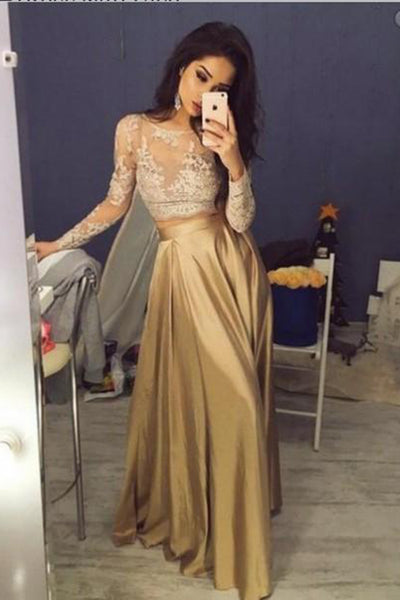 Gold Two Pieces Appliques Prom Dress with Full Sleeves Custom Made Fashion Long A-Line Evening Party Dress PD342