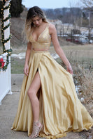 Fashion Two Piece Gold Beaded Long Prom Dress Custom Made 2 Pieces Graduation Party Dress PD175