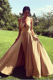 Simple V-Neck Gold Satin Prom Dress Custom Made A-Line Evening Gowns Fashion Long Side Slit Formal Dresses PD459