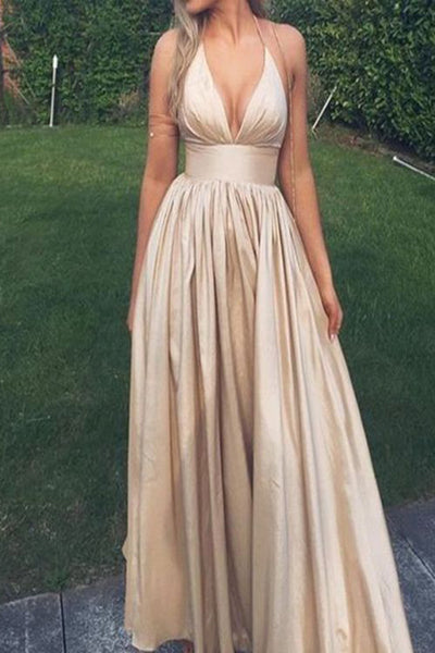 Simple Sexy Halter Deep V-Neck Prom Dress Custom Made Fashion Long A-Line Evening Party Dress PD209