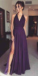 Halter v-Neck Grape Prom Dress 2019 Custom Made Side Slit Evening Party Dress Fashion Long School Dance Dress PD551
