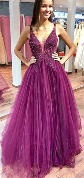 Beaded Long Tulle Prom Dress Custom Made Long V-Neck Evening Dress Fashion Long School Dance Dress Women's Formal Dresses PD871