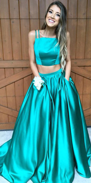 Simple Sexy 2 Pieces Spaghetti Straps Prom Dress with Pockets Custom Made Satin Two Pieces Evening Party Dress Fashion Long School Dance Dress PD531