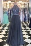 Halter Beaded Long Grey Prom Dress Custom Made Long Tulle Beadings Evening Party Dresses Fashion Long School Dance Dresses PD729